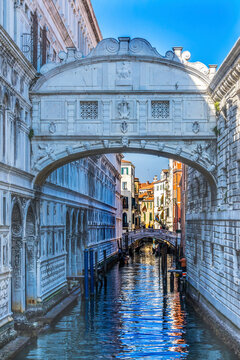 Bridge of Sighs Small Colorful Canal Venice Italy