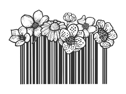 Barcode with flowers sketch engraving vector illustration. T-shirt apparel print design. Scratch board imitation. Black and white hand drawn image.