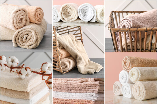 Collage of soft clean towels