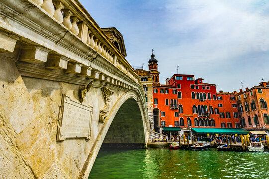 Rialto Bridge Grand Canal Public Water Venice Italy
