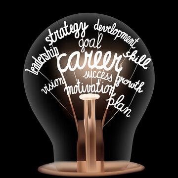 Light Bulb with Career Concept
