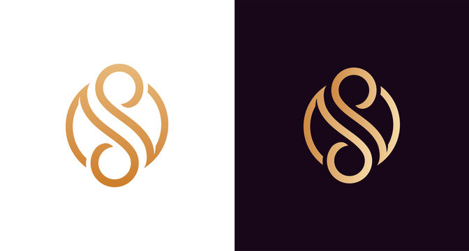 beautiful luxury letter SS monogram in infinity shape, elegant circular letter S and S logo template