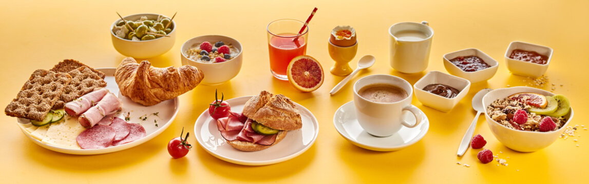Assorted food and beverages for breakfast