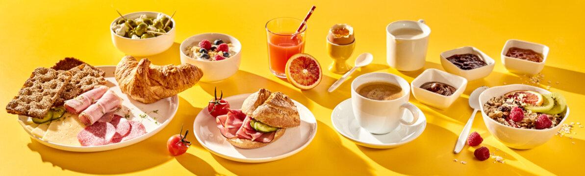 Various breakfast food in morning