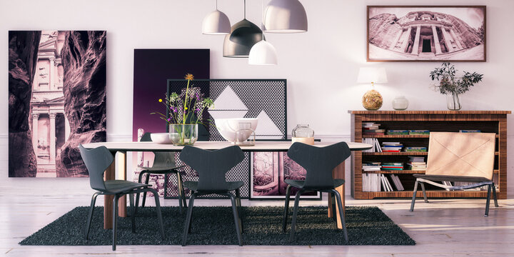 Living Room with Modern Table Set  - panoramic 3D Visualization