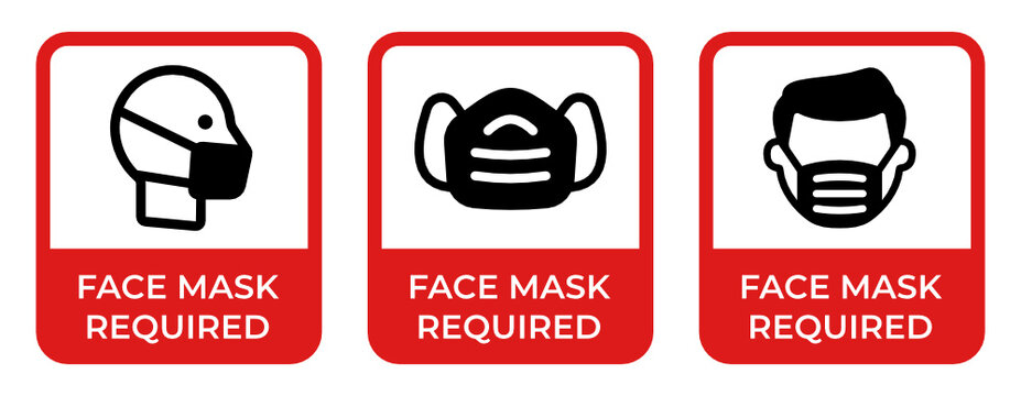 Face mask required sign, covid-19 face protection vector sticker