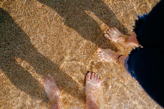 발 커플 바다 foot