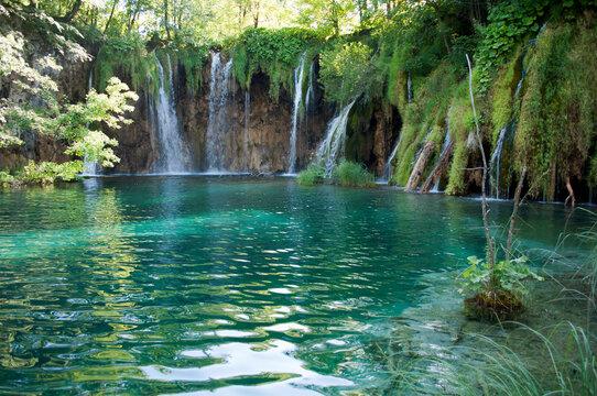 Lake and Waterfalls in Plitvice Lakes National Park, Croatia