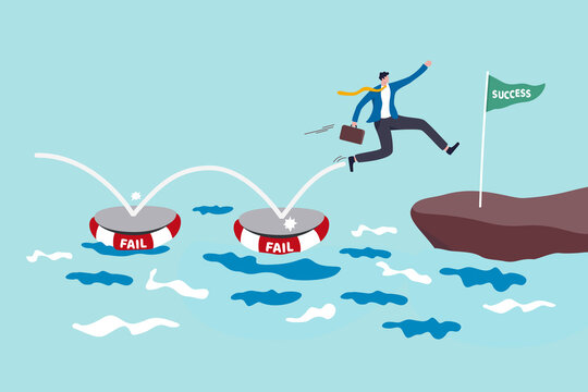 Fail to success, using failure to be lesson learn and creativity to achieve business success concept, smart business jumping on many time of failures floating on water and finally reach success flag.