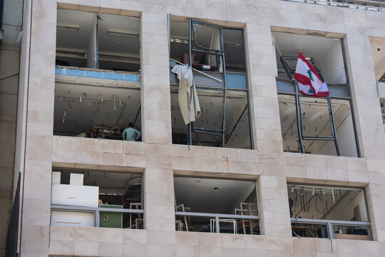 explosion damage on building facades in downtown Beirut after a massive explosion in August 2020