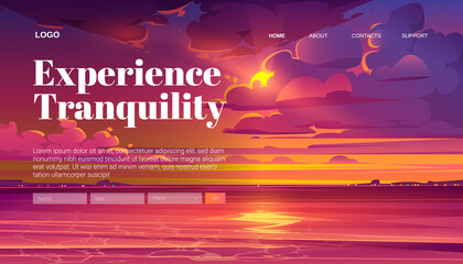 Travel banner of tranquility rest with cartoon landscape of sea sunset. Vector landing page of calm vacation on sea or lake shore with illustration of coastline and sky with clouds and evening sun Wall mural