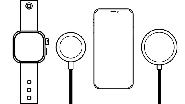Outline line drawing modern smartphone, Smart watch, Wireless Charger, Cable Charge Smart Device icon Isolate on White Background.