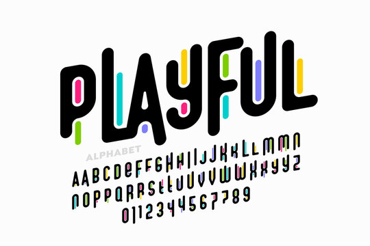 Playful colorful font design, childish alphabet letters and numbers