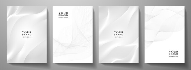 Modern cover design set. Gold abstract line pattern (guilloche curves) in light monochrome colors. Premium white stripe vector layout for business background, certificate, brochure template