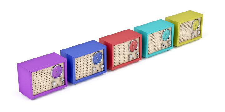 Row with multicolor radios with retro design on white background