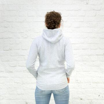 Blanko Kapuzenweater grau-meliert - Rückseite - Hoodie - Vorlage auf weißem Grund für Online-Shop