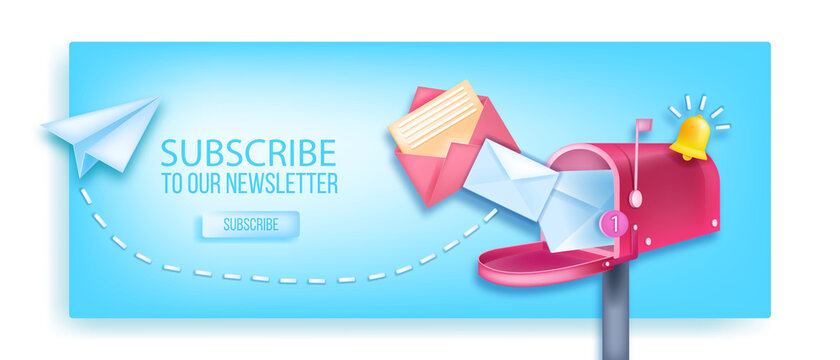 Subscribe to our newsletter vector 3D banner, open mailbox, paper airplane, notification bell, envelopes. Internet marketing, online business web page concept, button. Subscribe newsletter background