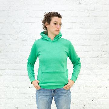 Blanko Kapuzenweater Kelly-Green - No3 - Hoodie - Vorlage auf weißem Grund für Online-Shop