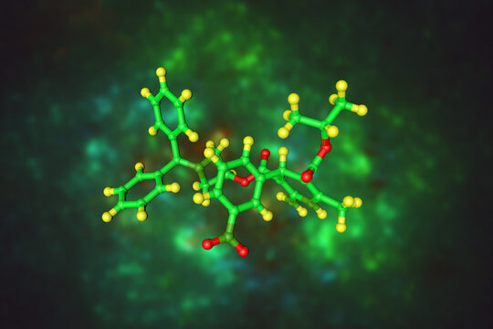 Molecular model of azelnidipine, a dihydropyridine calcium channel antagonist used for the treatment of hypertension. Scientific background. 3d illustration