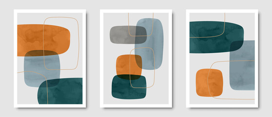 Fototapeta Set of trendy contemporary abstract creative minimalist hand painted compositions for wall decoration, postcard or brochure cover design in vintage style art.   EPS10 vector. obraz