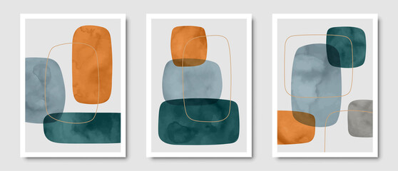 Set of trendy contemporary abstract creative minimalist hand painted compositions for wall decoration, postcard or brochure cover design in vintage style art. EPS10 vector.