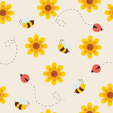 Seamless pattern with cute bees, ladybug, and flowers