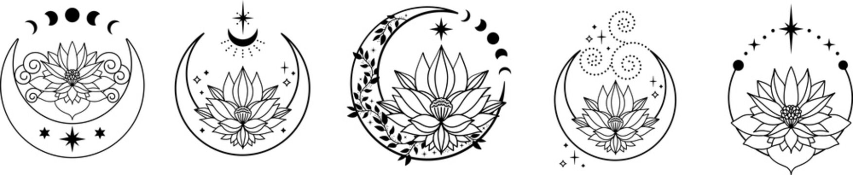 Set of Crescent moons with lotus flower, Flower Moon, Floral magic celestial clipart, Blooming Lotus Moon with Stars, Moon Phases
