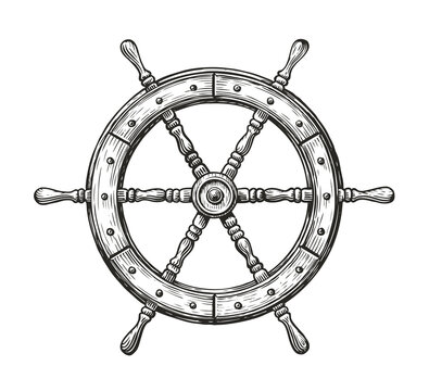 Wooden ship wheel. Sailing, nautical concept sketch vintage vector illustration
