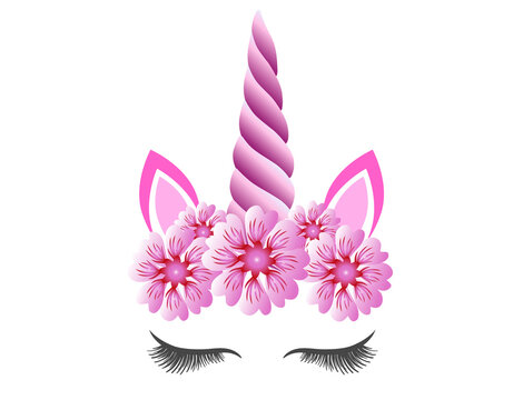 Fabulous cute unicorn with purple horn and pink flowers wreath isolated on white. Fairy unicorn princess girl for party invitation design or holiday decor.