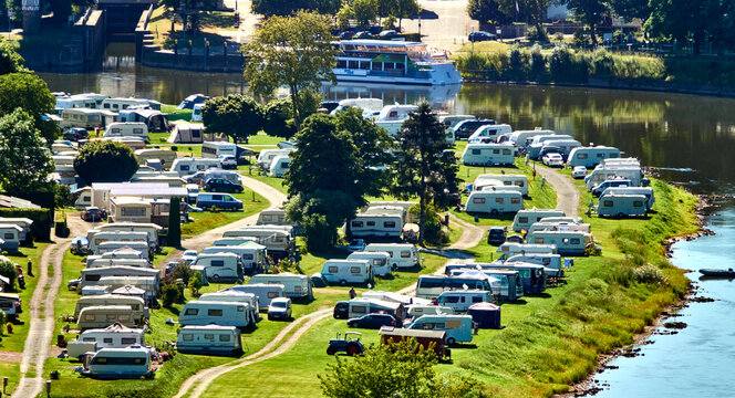 Aerial view of a site for caravans and mobile homes on the banks of the river Weser