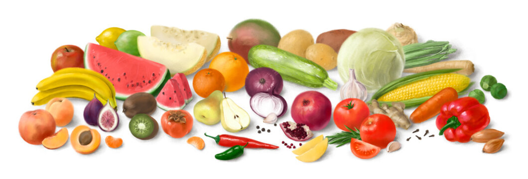 Collage of fresh vegetables and fruit for layout isolated on white background. Hand-drawn illustration.
