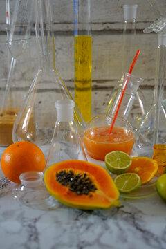 Rum cocktail with papaya orange lime