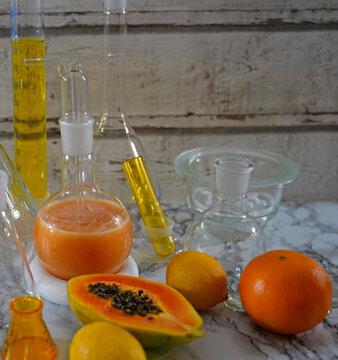 Papaya cocktail with rum lemon and orange