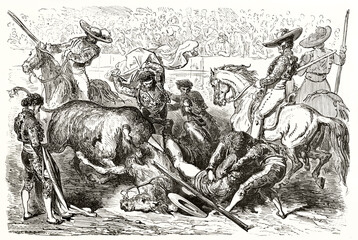bullfighting violent scene. unseated picador falling down with horse attacked by angry bull. Ancient grey tone etching style art by Dore, Magasin Pittoresque, 1838