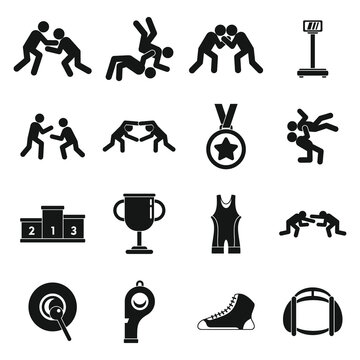 Greco-Roman wrestling icons set. Simple set of Greco-Roman wrestling vector icons for web design on white background