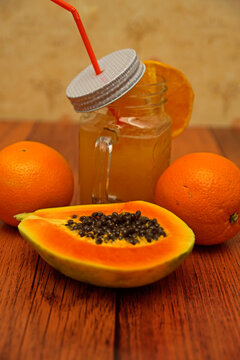 Papaya ginger lemonade in glass