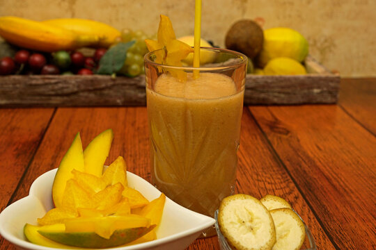 Mango banana star fruit smoothie