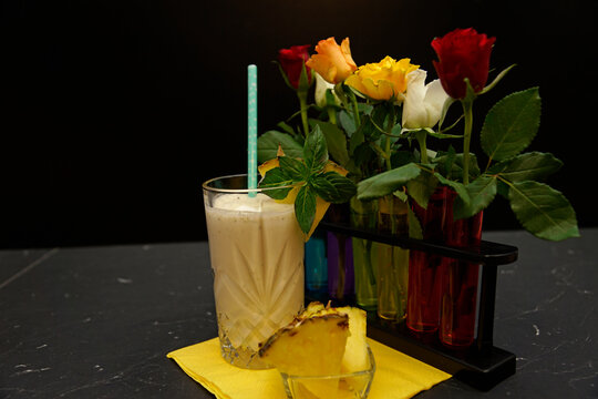 pineapple coconut smoothie in glass