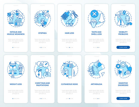 Post-covid syndrome onboarding mobile app page screen with concepts set. Reduced work hours walkthrough 5 steps graphic instructions. UI vector template with RGB color illustrations