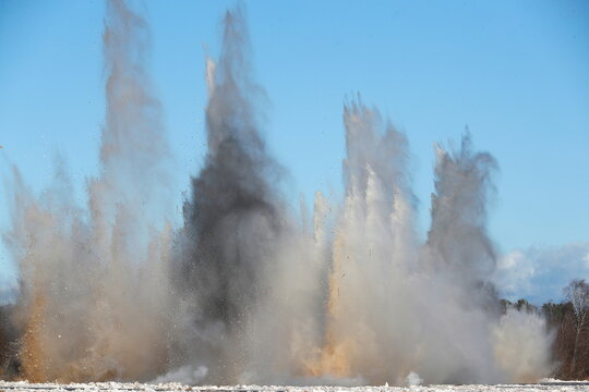 Latvian army sappers blow up ice compaction on Gauja river near Carnikava