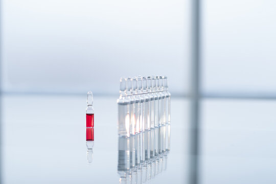 glass ampoules on the table in the laboratory.