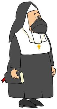 Catholic Nun wearing a face mask