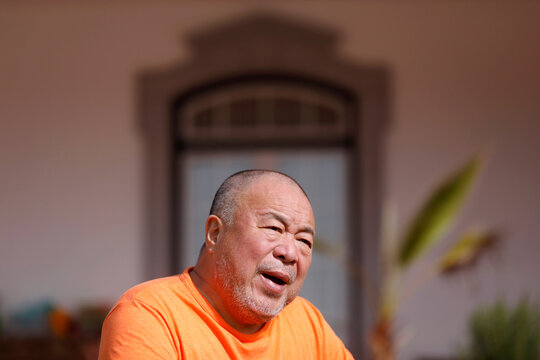 Chinese dissident artist Ai Weiwei speaks in Montemor-O-Novo