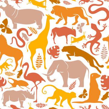Wild africa safari animal icon seamless pattern