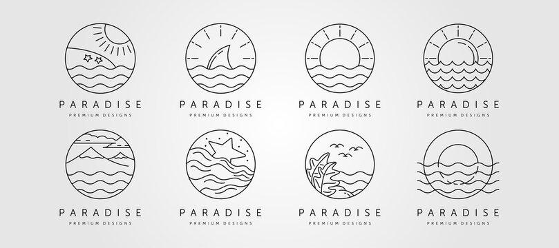 set of ocean line art logo vector minimalist design, ocean landscape icon symbol vector illustration design