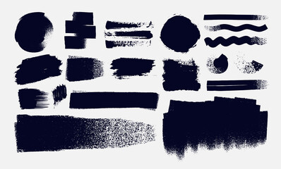 Set of Paintbrush, brush strokes templates. Grunge elements for social media. Design rectangle text boxes or speech bubbles. Vector dirty distress texture banners for social networks story and posts.