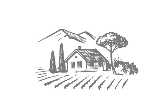 House in village with trees and plowed land. Small farm near mountains hand drawn sketch