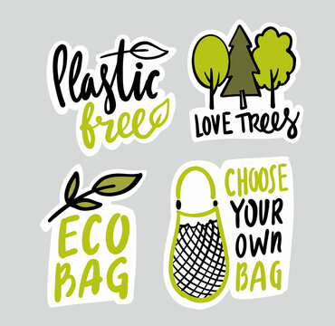 Eco emblem with bag and lettering. Trees Protect Sticker