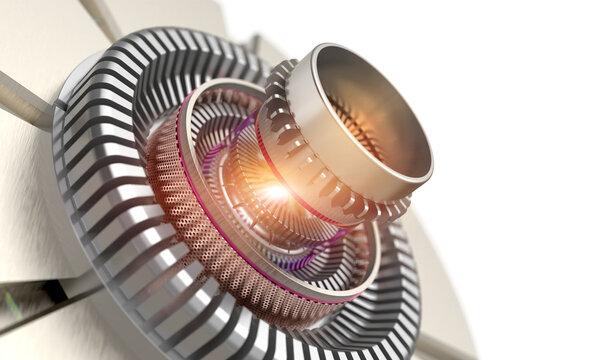 Gear mechanical automotive part of a laser turbine close up 3D concept design