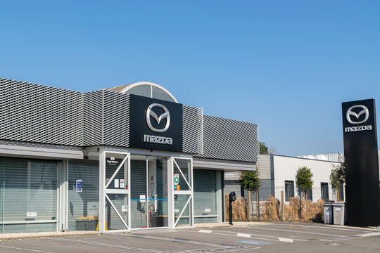 Villeneuve d'Ascq,FRANCE-February 28,2021: Mazda car showroom building. Mazda Motor Corporation Japanese car manufacturer based in the city of Hiroshima,was founded in 1920.